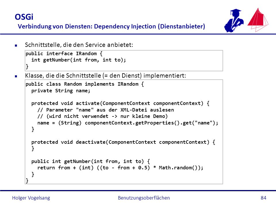 OSGi Verbindung von Diensten: Dependency Injection (Dienstanbieter)
