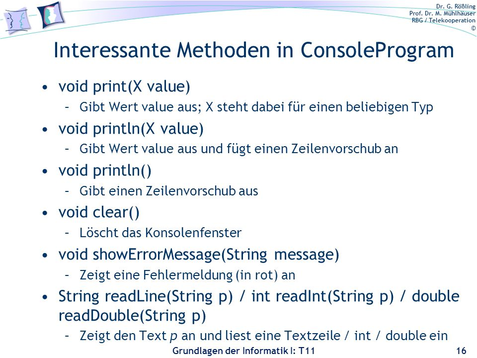 Interessante Methoden in ConsoleProgram
