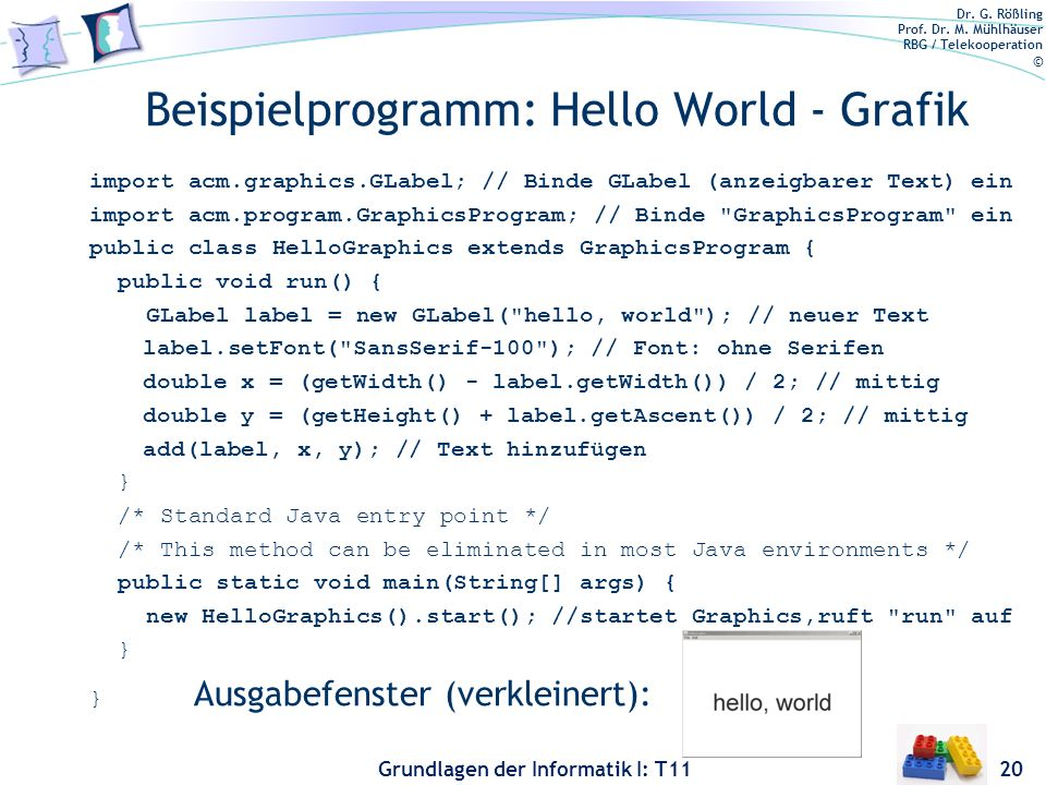 Beispielprogramm: Hello World - Grafik