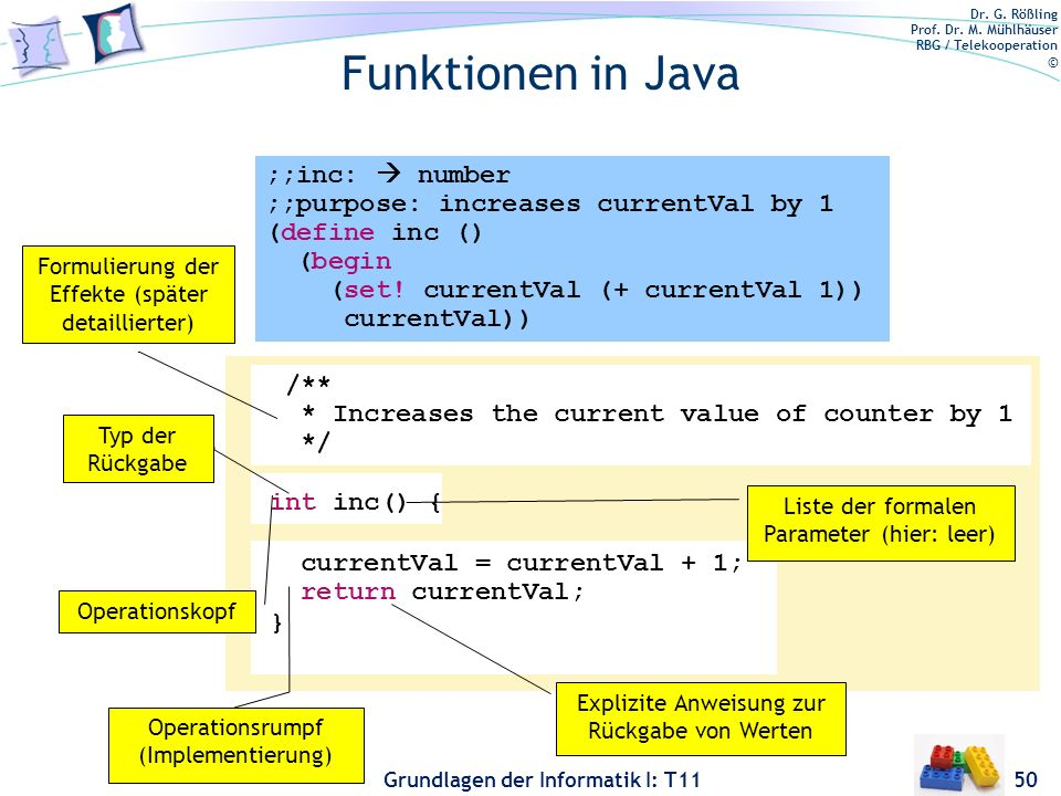 Funktionen in Java ;;inc:  number