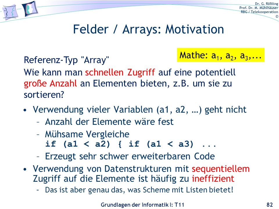 Felder / Arrays: Motivation
