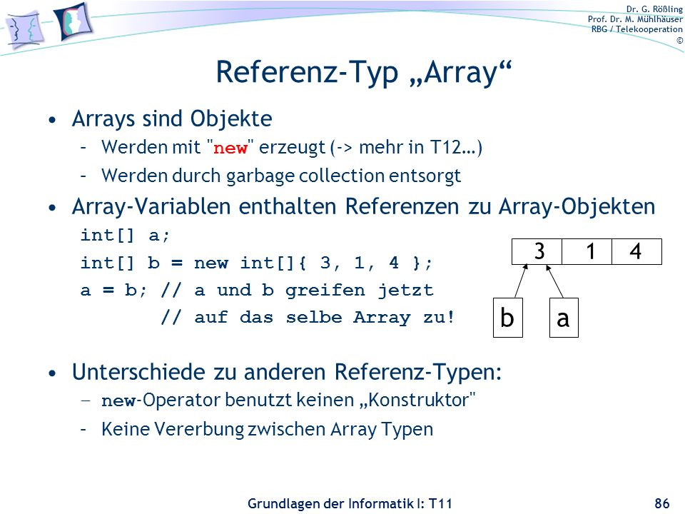 "Referenz-Typ ""Array b a Arrays sind Objekte"