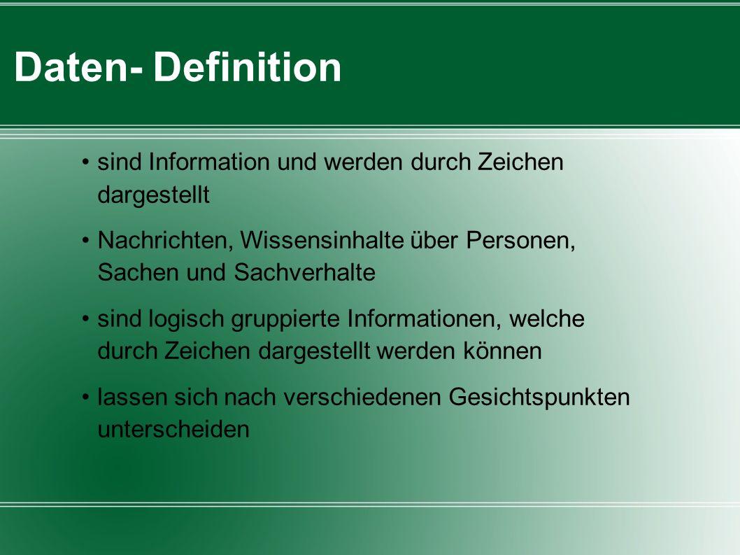Daten- Definition sind Information und werden durch Zeichen dargestellt. Nachrichten, Wissensinhalte über Personen, Sachen und Sachverhalte.