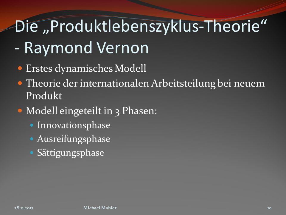 """Die """"Produktlebenszyklus-Theorie - Raymond Vernon"""