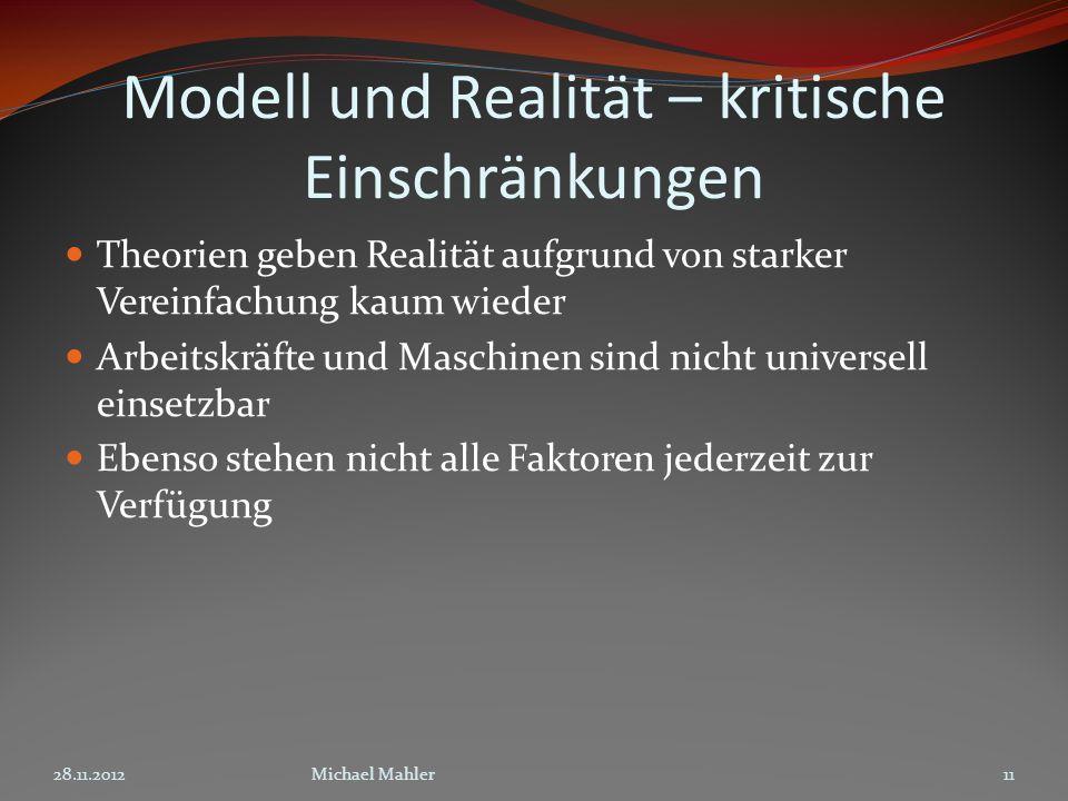 Modell und Realität – kritische Einschränkungen