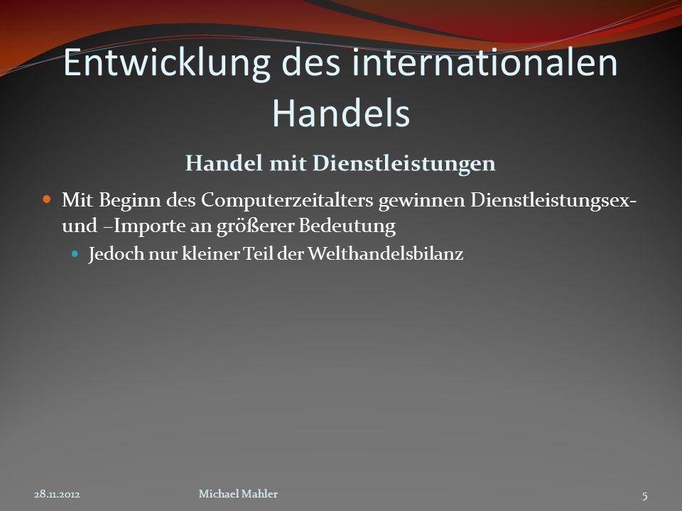 Entwicklung des internationalen Handels