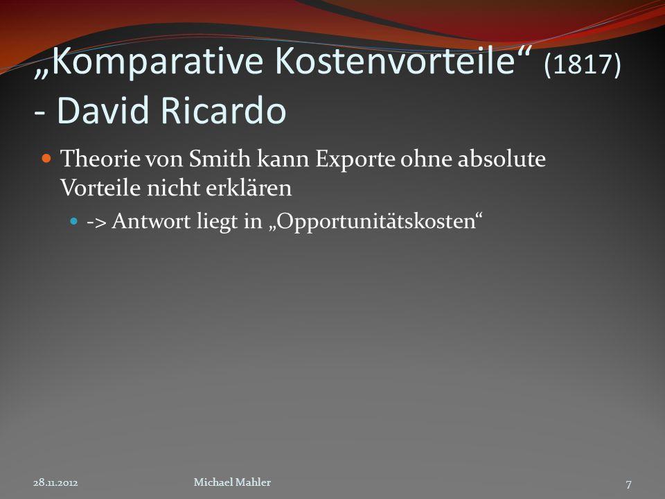 """Komparative Kostenvorteile (1817) - David Ricardo"