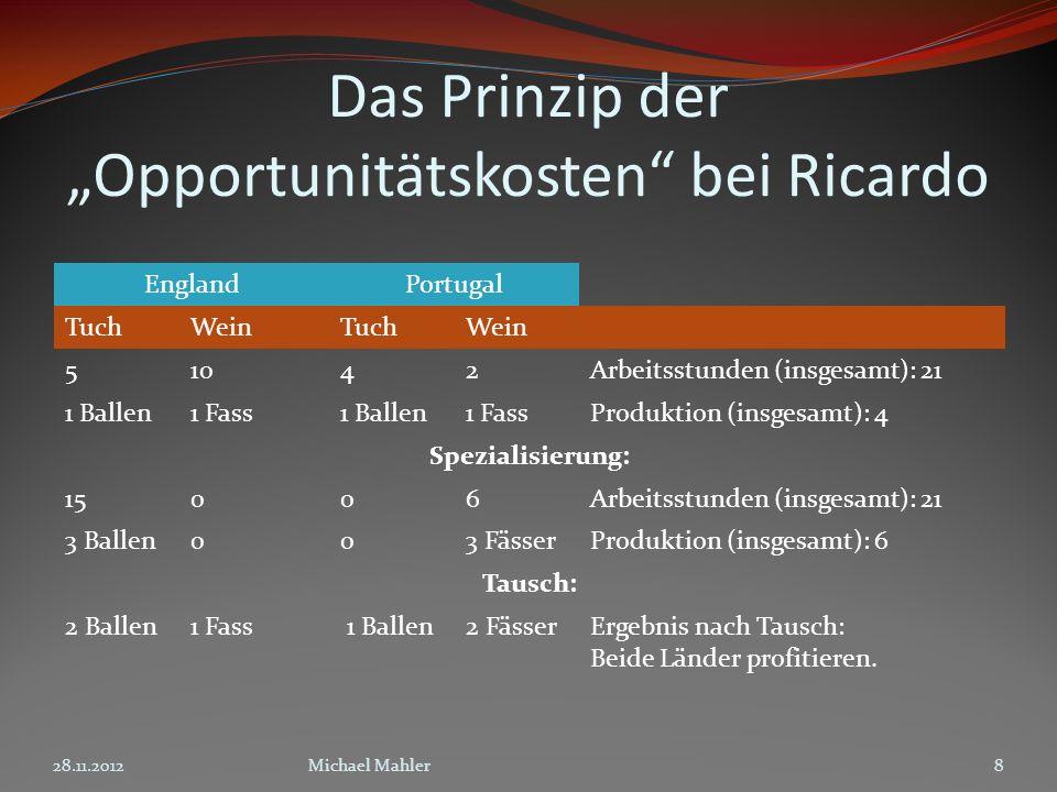 """Das Prinzip der """"Opportunitätskosten bei Ricardo"""