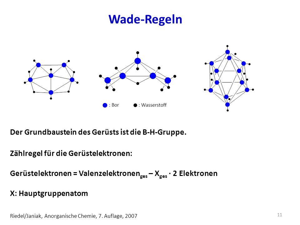 Wade-Regeln Der Grundbaustein des Gerüsts ist die B-H-Gruppe.