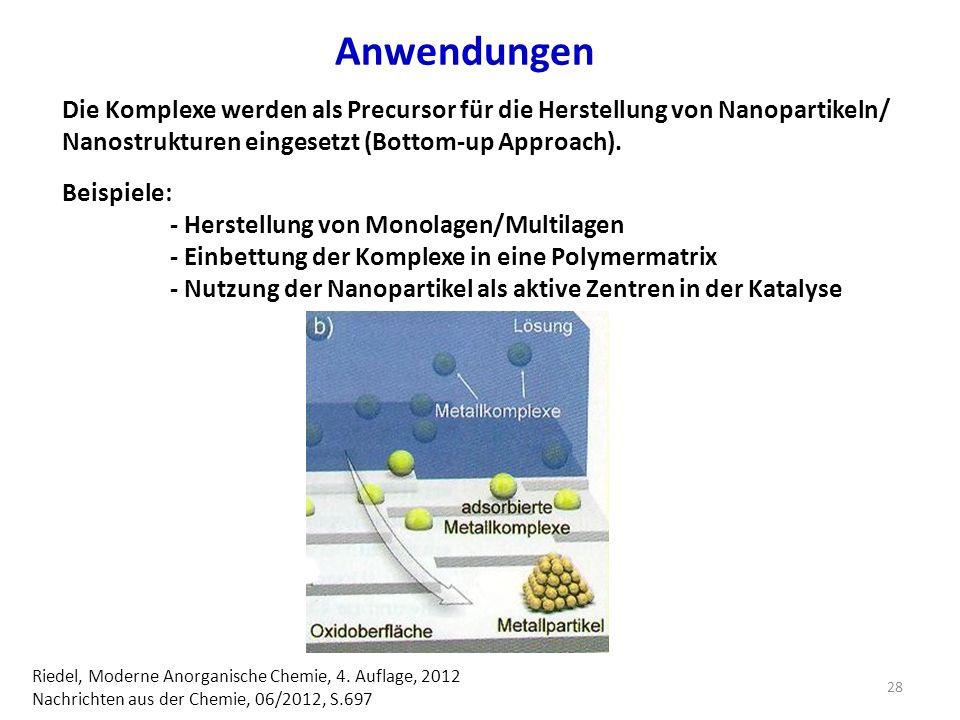 Anwendungen Die Komplexe werden als Precursor für die Herstellung von Nanopartikeln/ Nanostrukturen eingesetzt (Bottom-up Approach).