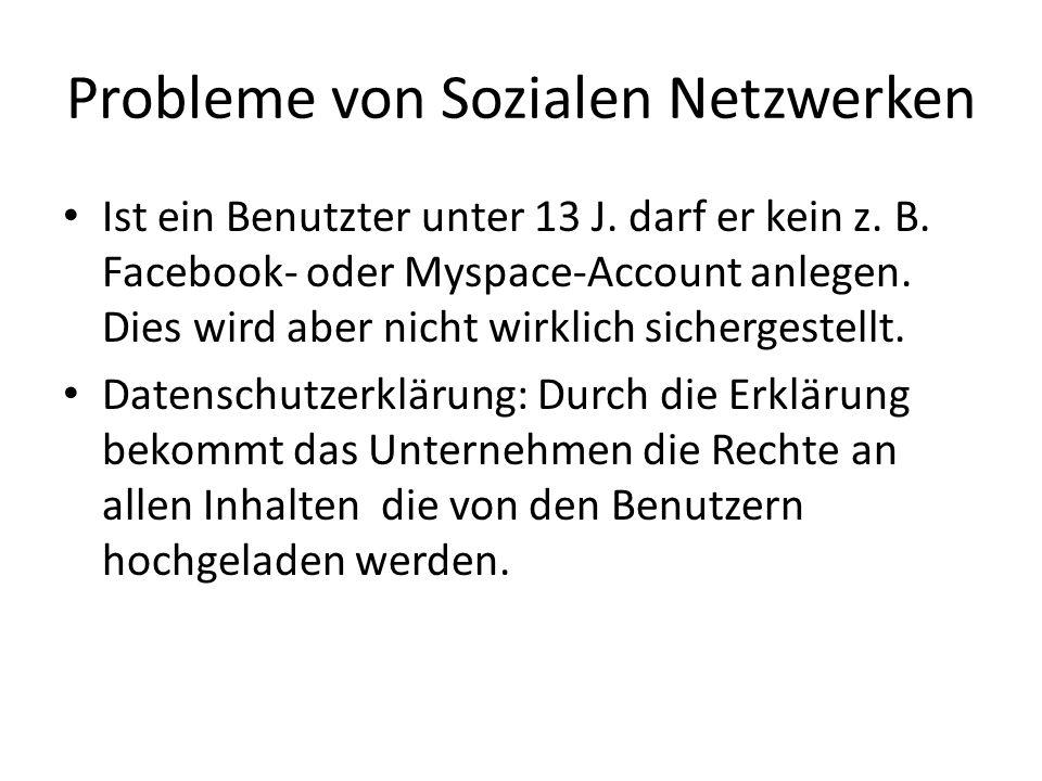 Probleme von Sozialen Netzwerken