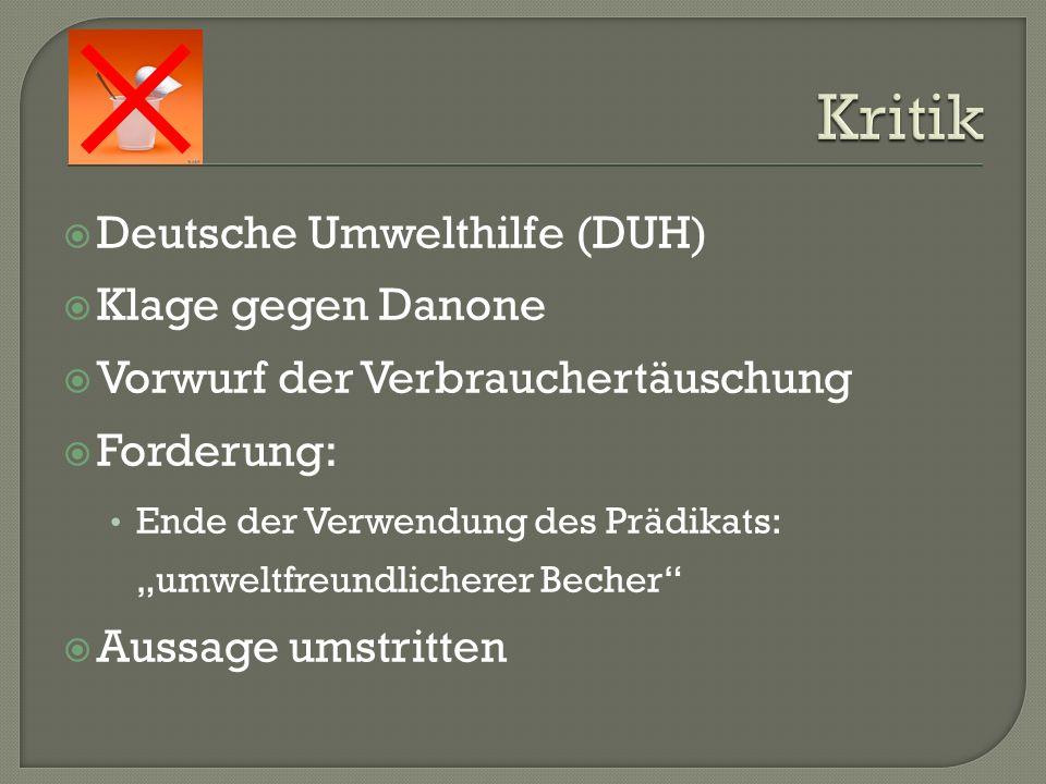 Kritik Deutsche Umwelthilfe (DUH) Klage gegen Danone
