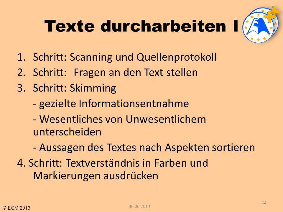 Texte durcharbeiten I Schritt: Scanning und Quellenprotokoll