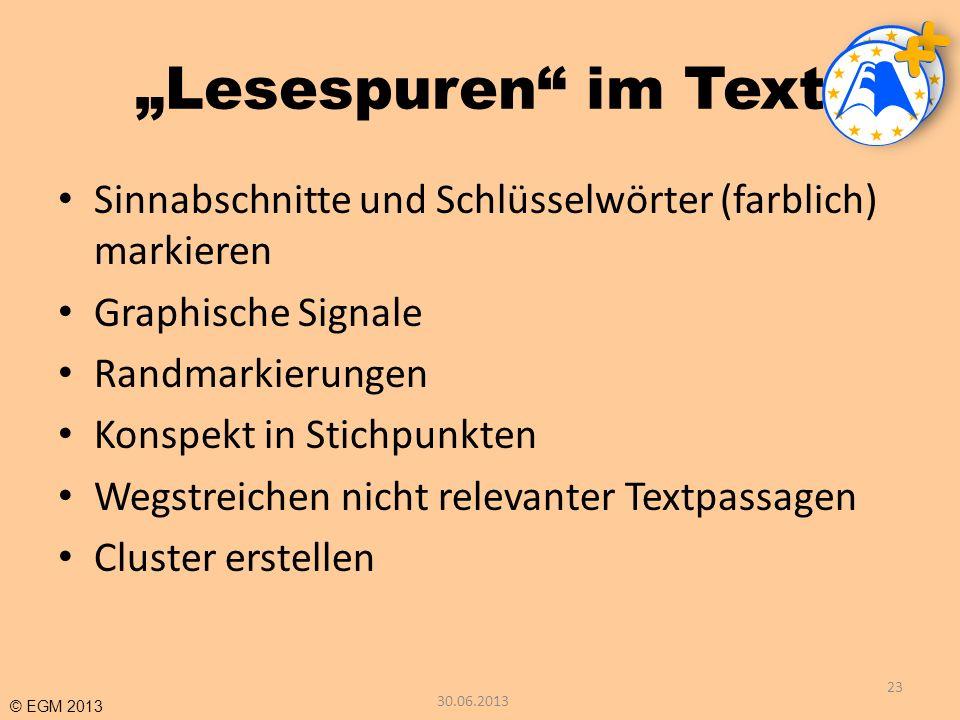 """""""Lesespuren im Text Sinnabschnitte und Schlüsselwörter (farblich) markieren. Graphische Signale. Randmarkierungen."""