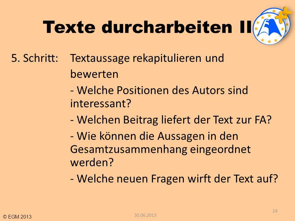 Texte durcharbeiten II