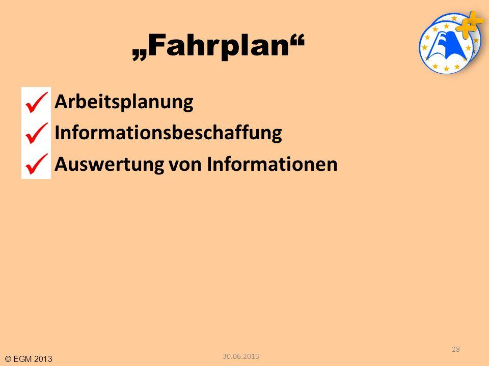 """""""Fahrplan 1 Arbeitsplanung 2 Informationsbeschaffung"""