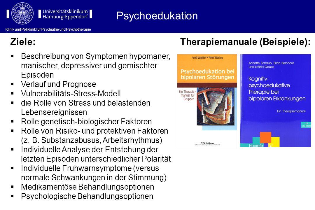 Psychoedukation Ziele: Therapiemanuale (Beispiele):
