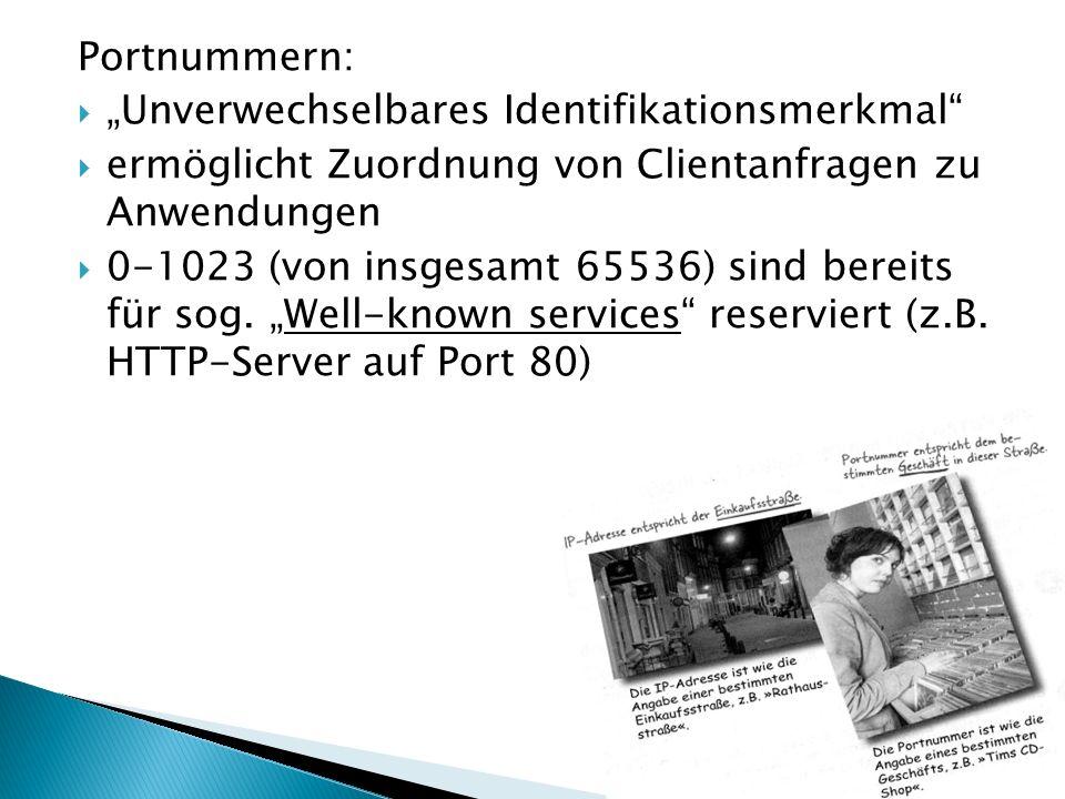"""Portnummern: """"Unverwechselbares Identifikationsmerkmal ermöglicht Zuordnung von Clientanfragen zu Anwendungen."""