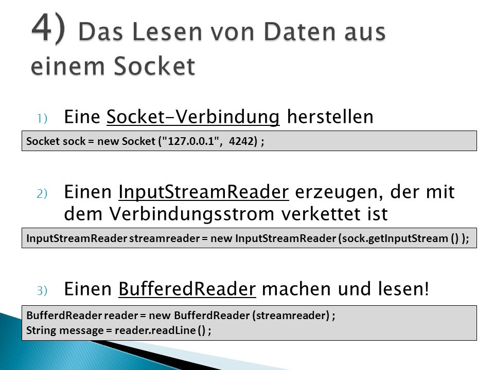 4) Das Lesen von Daten aus einem Socket