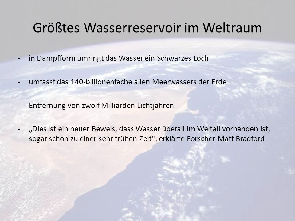 Größtes Wasserreservoir im Weltraum