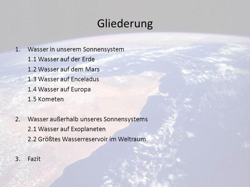 Gliederung Wasser in unserem Sonnensystem 1.1 Wasser auf der Erde