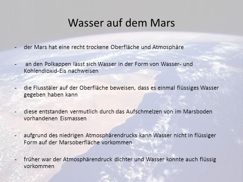 Wasser auf dem Mars der Mars hat eine recht trockene Oberfläche und Atmosphäre.