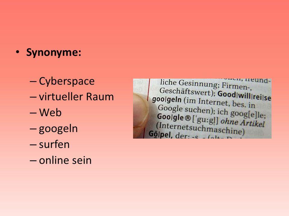 Synonyme: Cyberspace virtueller Raum Web googeln surfen online sein