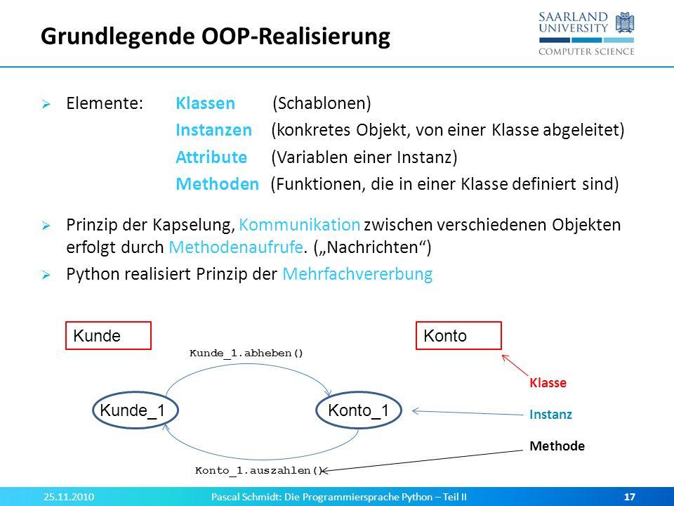 Grundlegende OOP-Realisierung