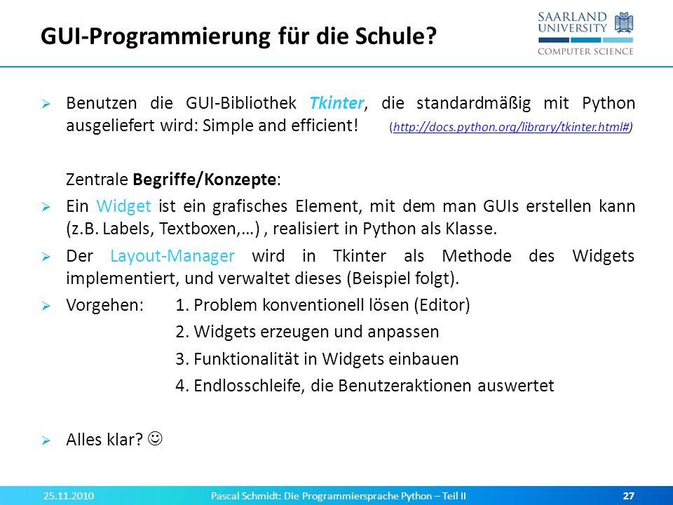 GUI-Programmierung für die Schule