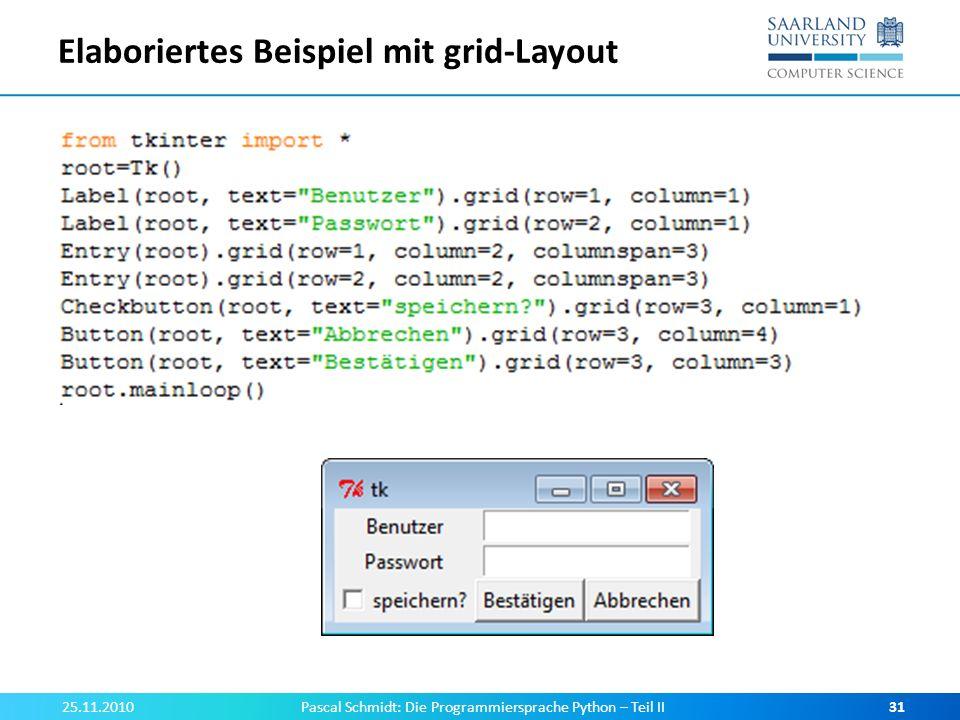 Elaboriertes Beispiel mit grid-Layout