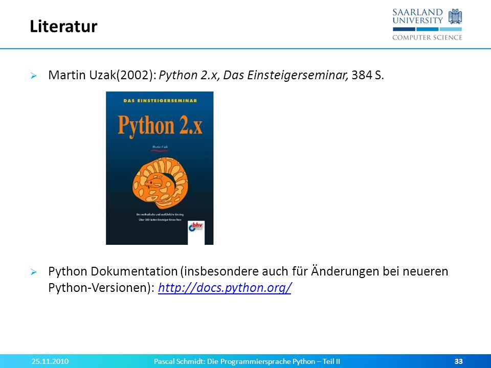 Pascal Schmidt: Die Programmiersprache Python – Teil II