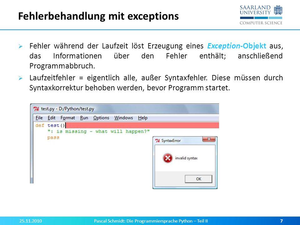 Fehlerbehandlung mit exceptions