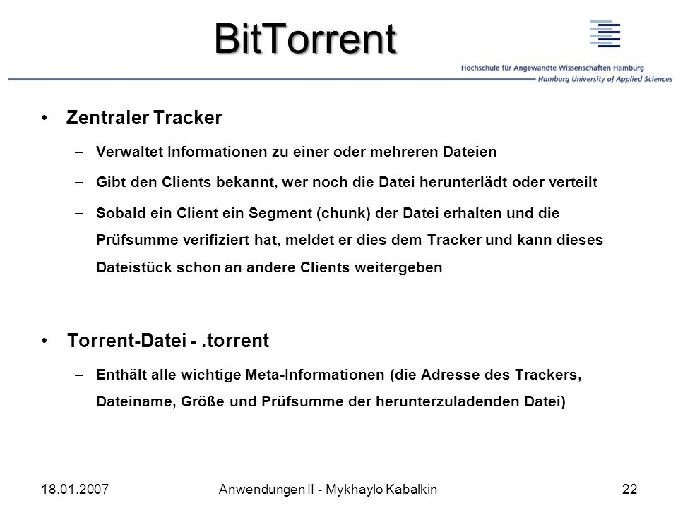 BitTorrent Zentraler Tracker Torrent-Datei - .torrent