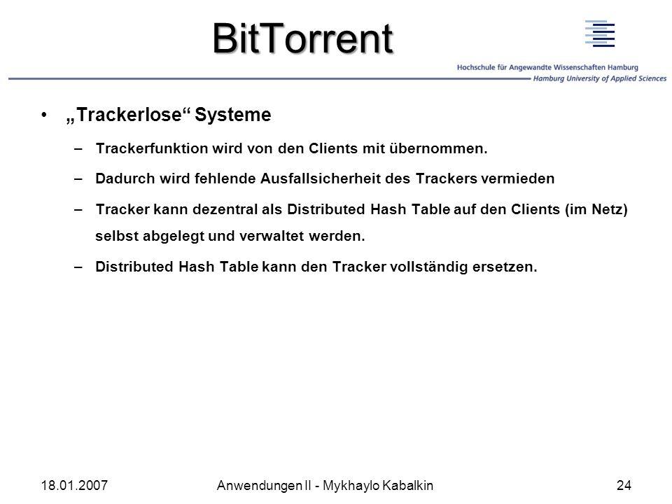 """BitTorrent """"Trackerlose Systeme"""