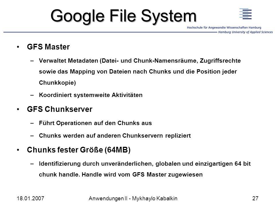 Google File System GFS Master GFS Chunkserver