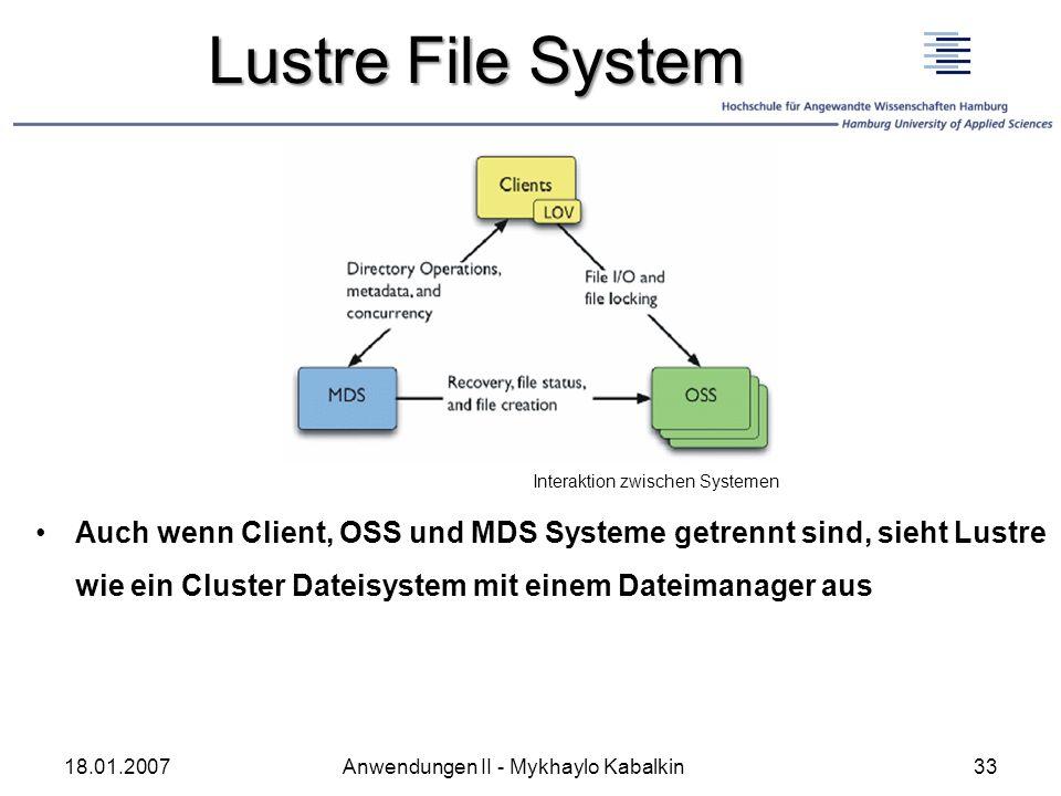 Lustre File System Interaktion zwischen Systemen.