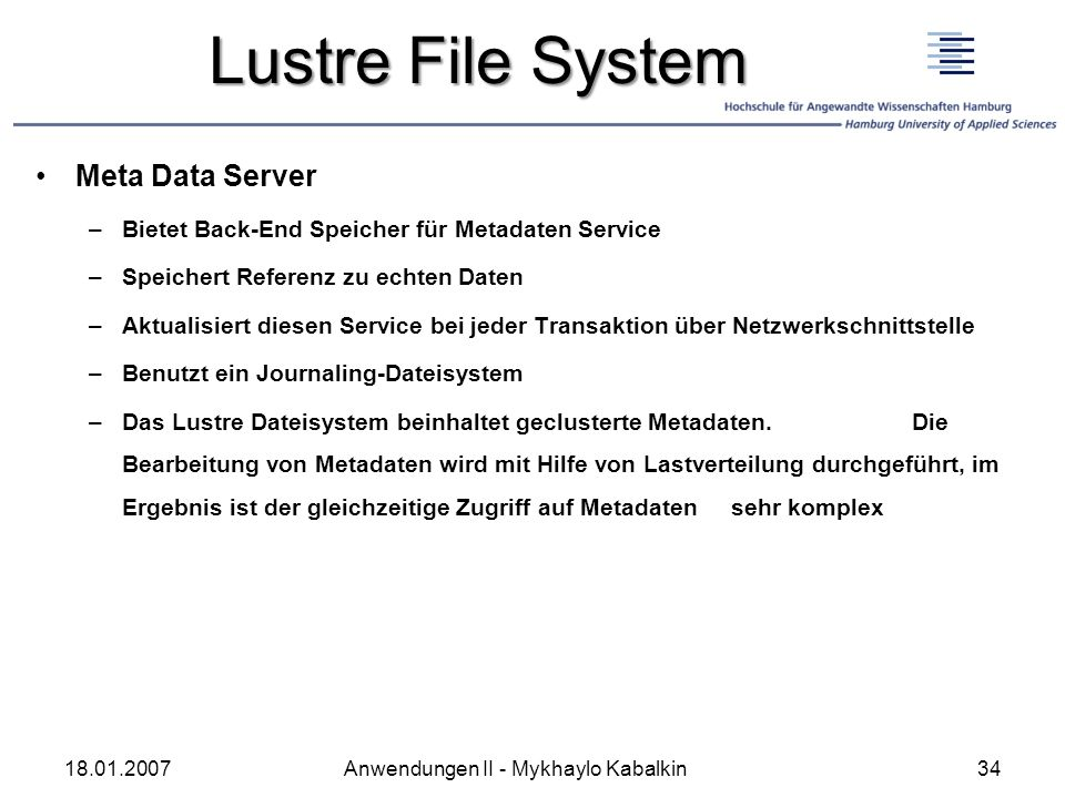 Lustre File System Meta Data Server