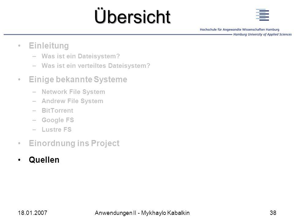 Übersicht Einleitung Einige bekannte Systeme Einordnung ins Project