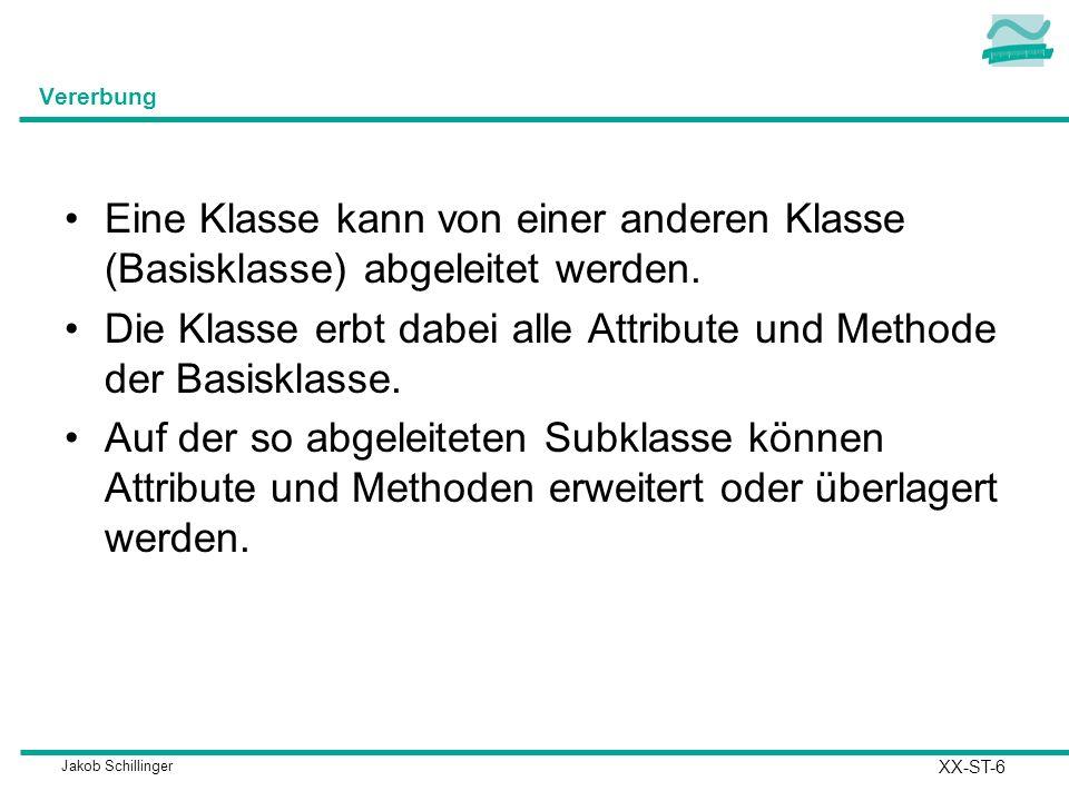 Die Klasse erbt dabei alle Attribute und Methode der Basisklasse.