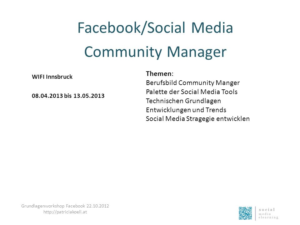 Facebook/Social Media Community Manager