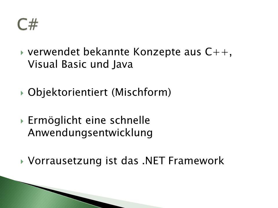 C# verwendet bekannte Konzepte aus C++, Visual Basic und Java