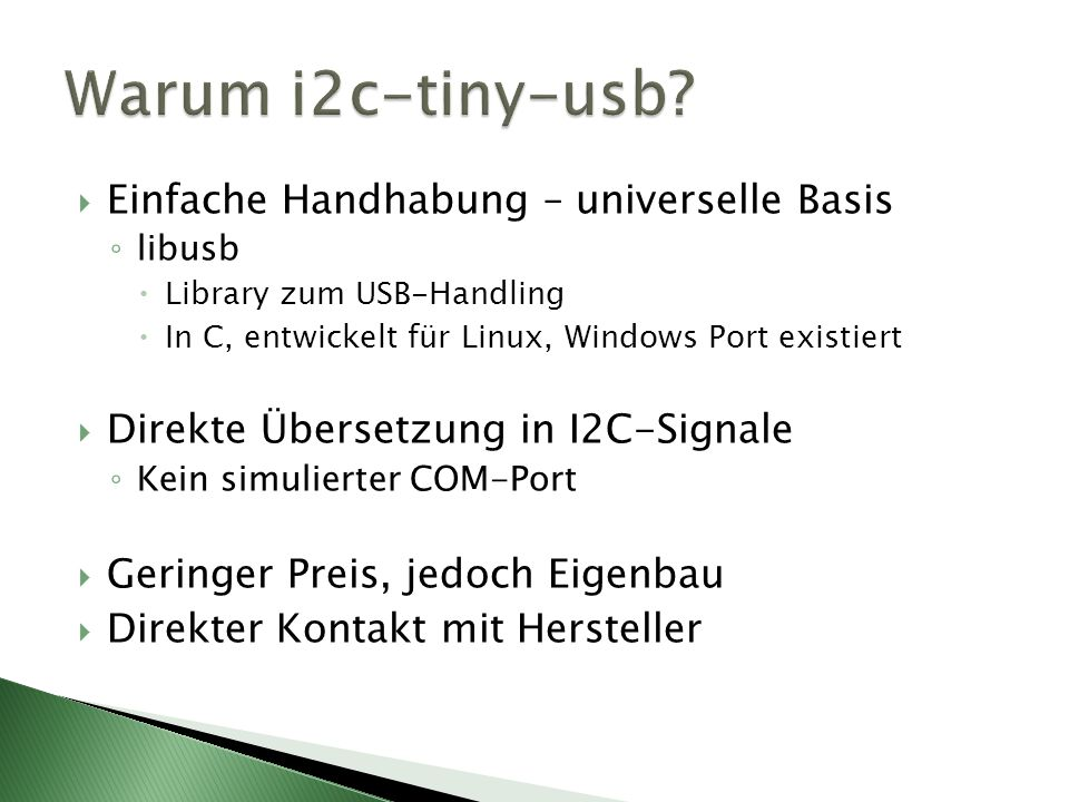 Warum i2c-tiny-usb Einfache Handhabung – universelle Basis