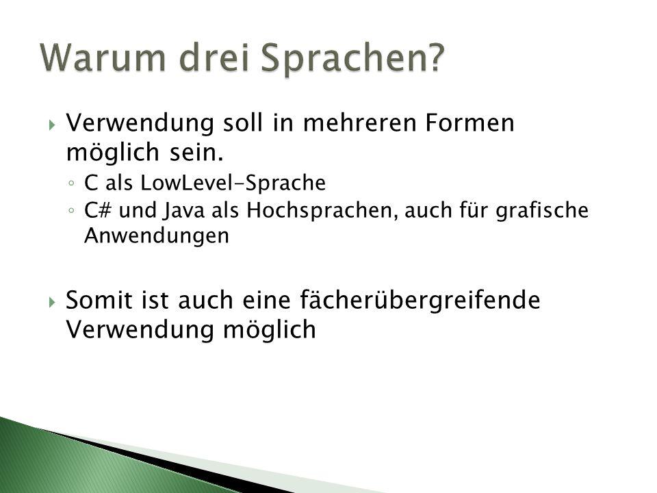 Warum drei Sprachen Verwendung soll in mehreren Formen möglich sein.