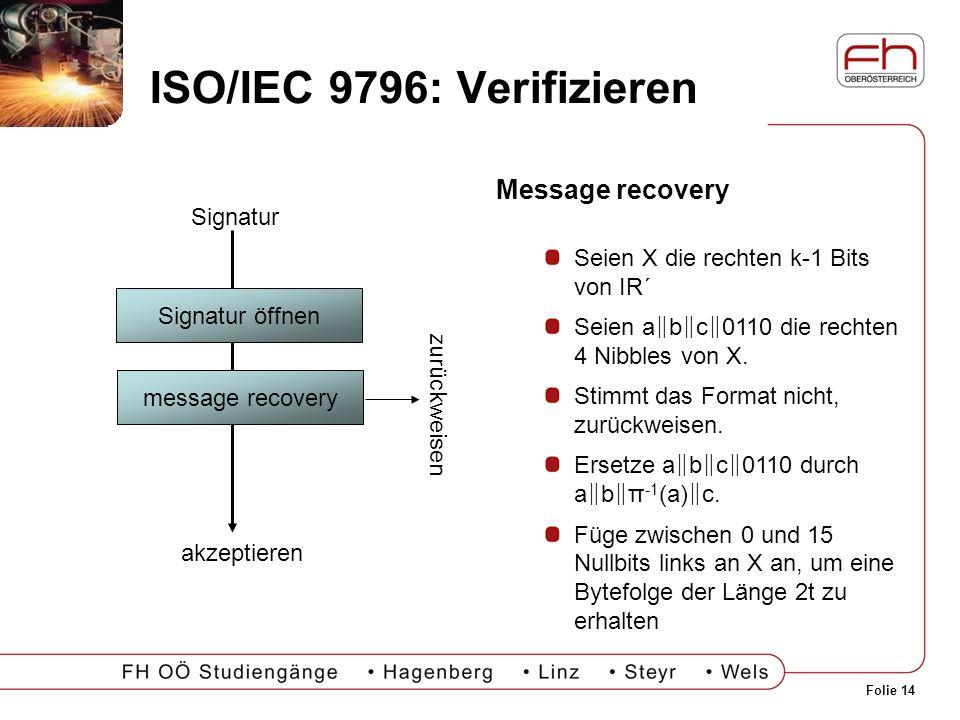 ISO/IEC 9796: Verifizieren