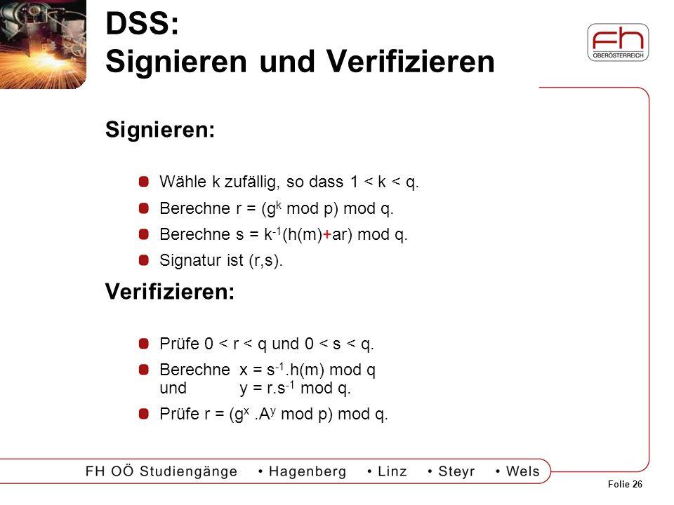 DSS: Signieren und Verifizieren