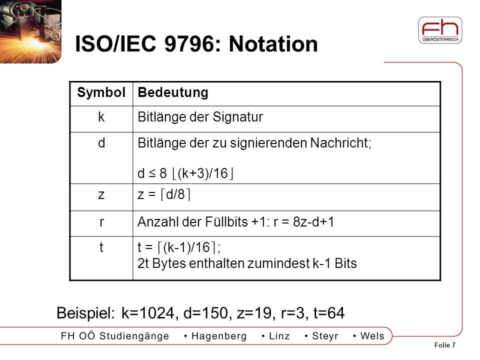 ISO/IEC 9796: Notation Beispiel: k=1024, d=150, z=19, r=3, t=64 Symbol