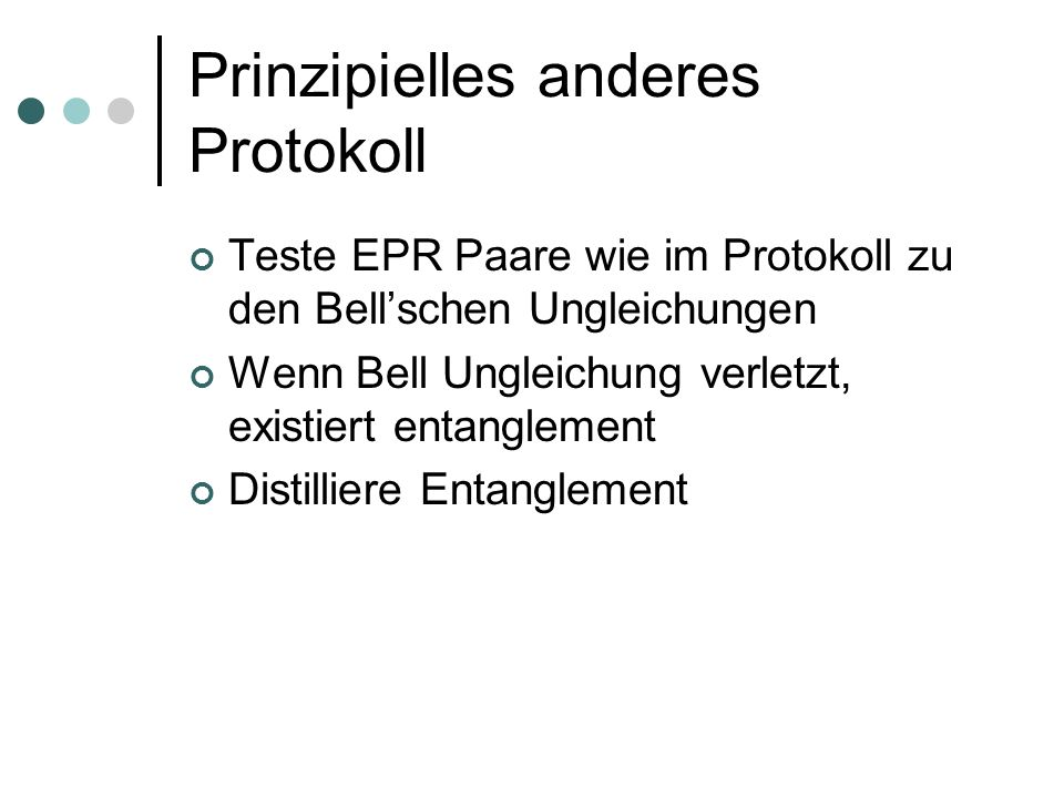 Prinzipielles anderes Protokoll