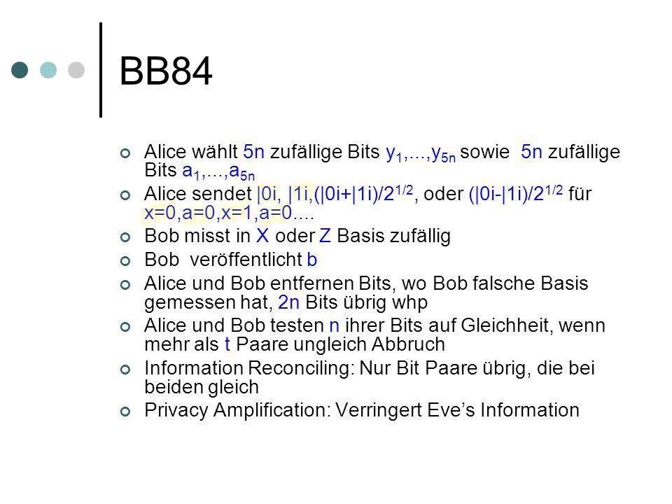 BB84 Alice wählt 5n zufällige Bits y1,...,y5n sowie 5n zufällige Bits a1,...,a5n.