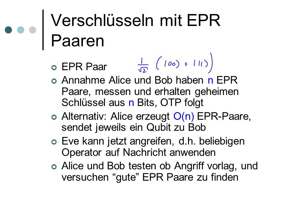 Verschlüsseln mit EPR Paaren