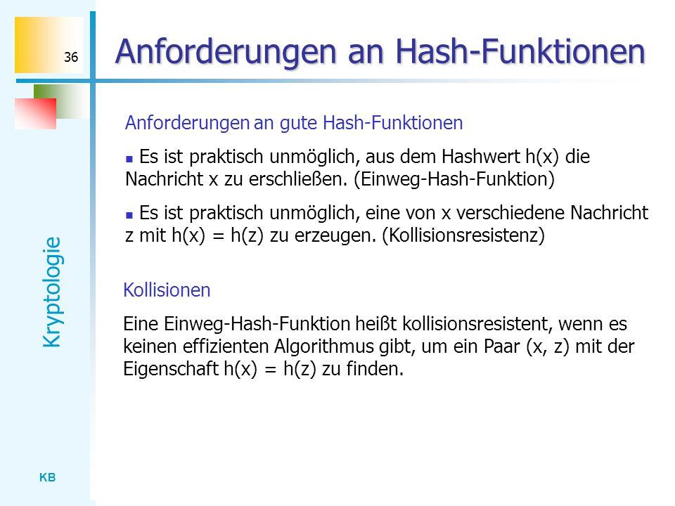 Anforderungen an Hash-Funktionen